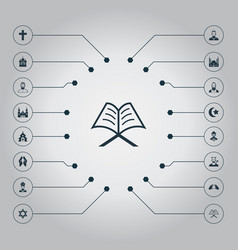 set of simple religion icons vector image