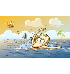 shark attack at summer vector image