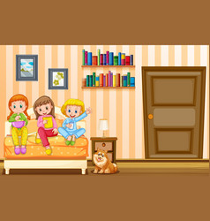 three girls and pet dog in bedroom vector image vector image