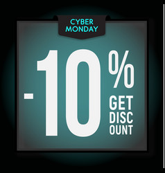 10 percent off holiday discount cyber monday vector image