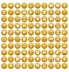 100 microphone icons set gold vector