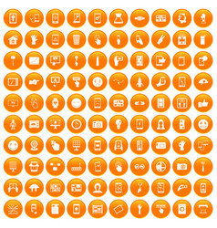 100 touch screen icons set orange vector