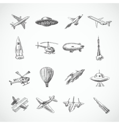 Aircraft icons sketch vector