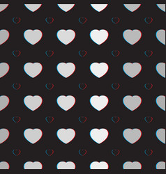 Anaglyph heart pattern vector