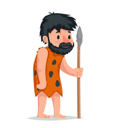 Ancient caveman with stone spear character icon vector