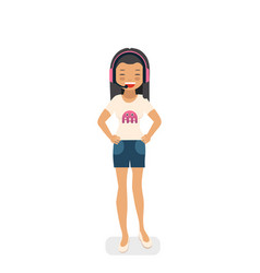 asian gamer girl in flat style vector image