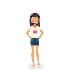 Asian gamer girl in flat style vector