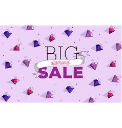 Big sale wallpaper with dimonds and typography vector