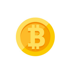 Bitcoin currency symbol on gold coin flat style vector