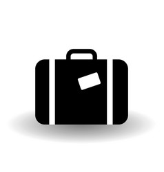 black and white suitcase icon travel sign baggage vector image