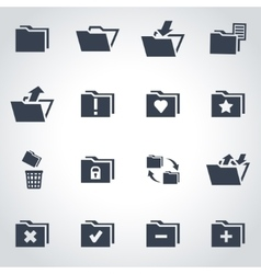 black folder icon set vector image