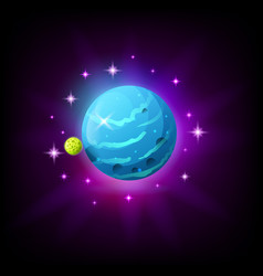 Blue planet with rings icon for game or mobile app vector