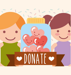 boy and girl jar glass hearts love donate charity vector image