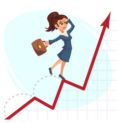 business woman jump over growing chart business vector image
