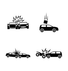 Car crash simple related icons vector