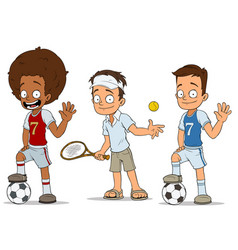 cartoon football tennis players characters set vector image