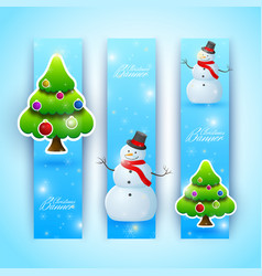 celebrating bright christmas vertical banners vector image