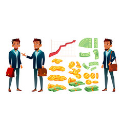 character banker and grow currency graphic vector image