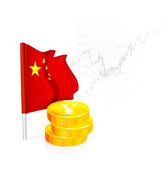 Chinese Flag with coins vector image