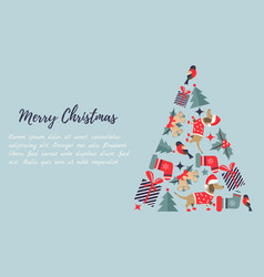 christmas new year background with christmas tree vector image