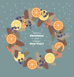 christmas wreath fir branches cones fruit vector image