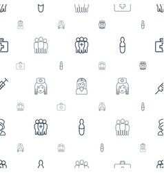 Clinical icons pattern seamless white background vector
