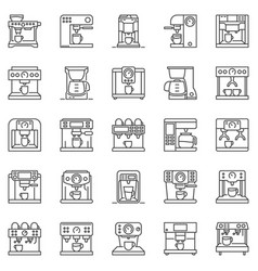 coffee machine outline icons set vector image