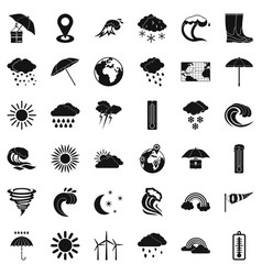 Cold weather icons set simple style vector