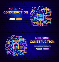 construction neon banners vector image