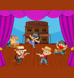 Cowboy kids on stage with acting vector