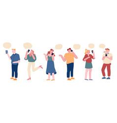 crowd people communicating with speech bubbles vector image