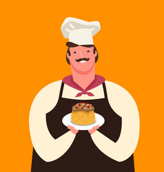 Cute chef holding a plate dessert menu vector