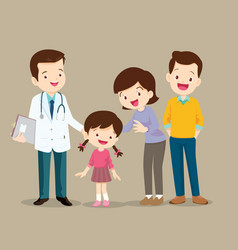 Cute family visiting doctor vector