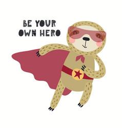 Cute sloth superhero vector