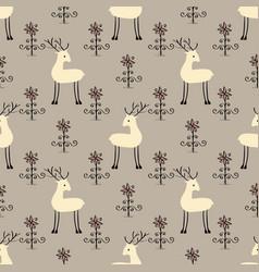 Deer flowers seamless pattern vector