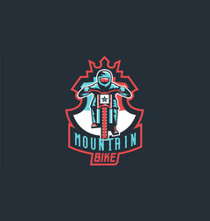 emblem of a cyclist on a mountain bike sport bike vector image