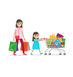 Family out on shopping shopping set vector