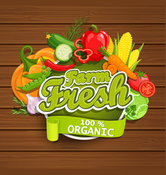 Farm fresh vegetables label vector