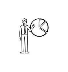 figure of man with diagram hand drawn sketch icon vector image