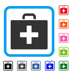 first aid bag framed icon vector image