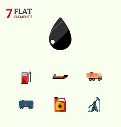 Flat icon petrol set of boat petrol container vector
