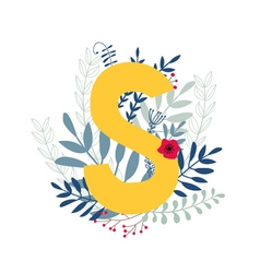 Floral alphabet letter s vector