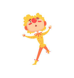 Funny clown in a red and yellow costume colorful vector