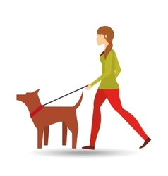 girl walking a brown dog vector image