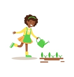 Girl Watering Sprouts Helping In Eco-Friendly vector image