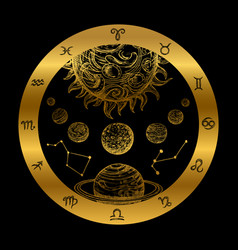 Golden astrology concept with planets isolated vector