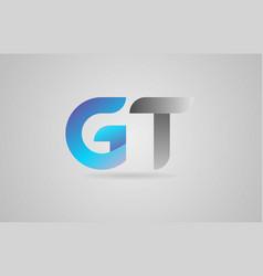 Grey blue alphabet letter gt g t logo icon design vector