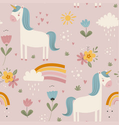 hand drawing cute unicorn and flowers seamless vector image