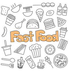 hand drawn doodle fast food set vector image