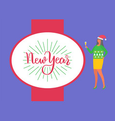 happy new year poster woman celebrate xmas party vector image